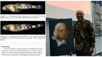 Dosen Fakultas Perikanan Universitas Pattimura (Unpatti) Ambon Dr. rer. Nat. Gino Valentino Limmon, M.Sc bersama lukisan Rumphius, dan spesies ikan Schismatogobius limmoni. (foto gino valentino)